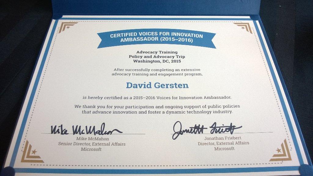 David Gersten Voices for Innovation Ambassador