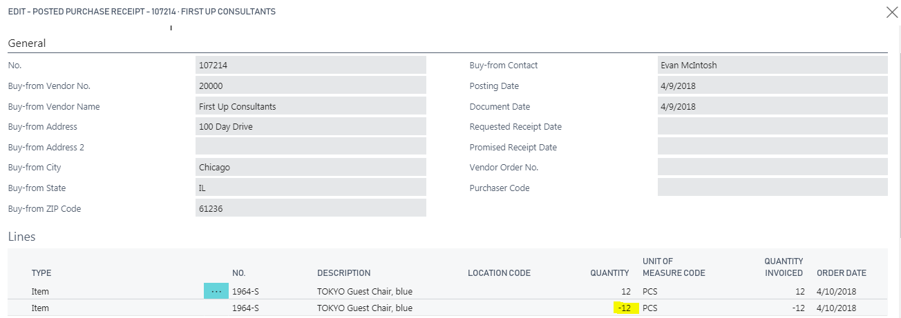 Microsoft Dynamics 365 Business Central   Purchase Order Receipt Reversal