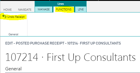 Microsoft Dynamics 365 Business Central | Purchase Order Receipt Reversal