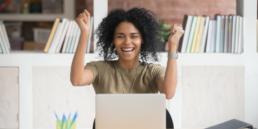 Overjoyed ecstatic businesswoman winner celebrating the release of Microsoft Dynamics GP