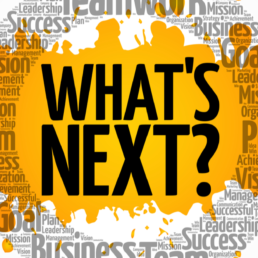 """What's Next circle word cloud, business concept 