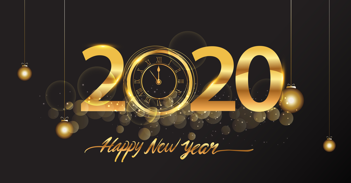 Happy New Year 2020 - New Year Shining background with gold clock and glitter | Microsoft Dynamics GP