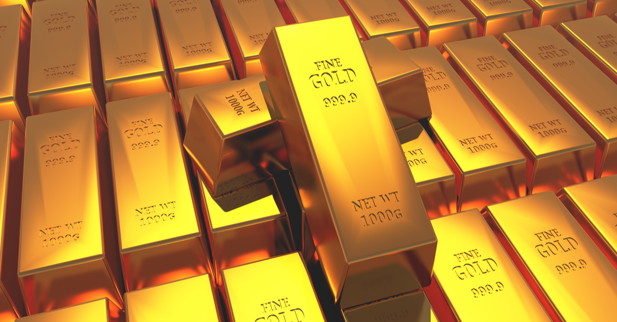 Gold bullion gold bars treasury implement wealth Ingot luxury finance goods trading, stacked gold bars.