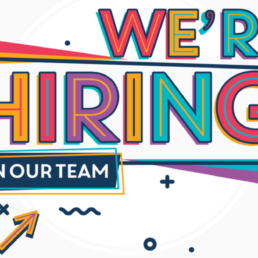 We're hiring typographic design - colorful template with creative graphic text