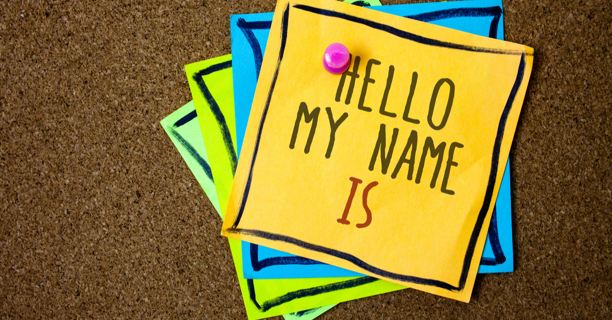 Writing note showing Hello My Name Is. Business photo showcasing Introduce yourself meeting someone new Presentation Papers beautiful colours messages feelings card birthday valentine.   Microsoft 365