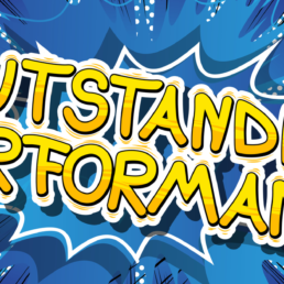 Outstanding Partners Performance - Comic book word on abstract background.