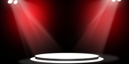 Red stage background with spotlights